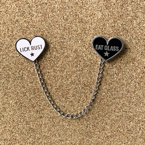 LICK RUST/EAT GLASS  Lapel Pin Collar Chain Set