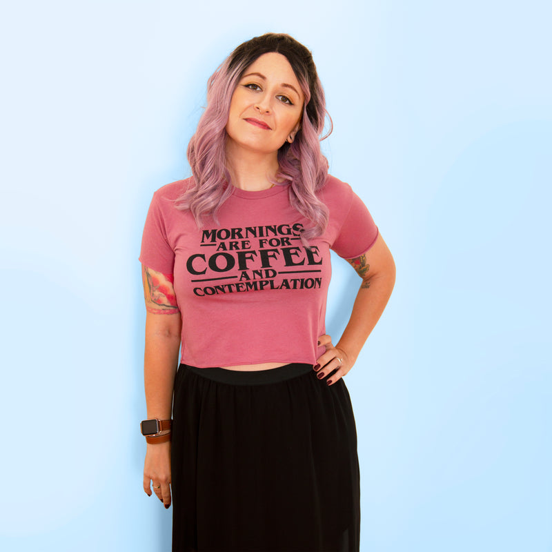 COFFEE AND CONTEMPLATION Women's crop shirt