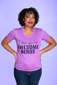 SALE -- AWESOME NERDS.   Women's fitted t-shirt.