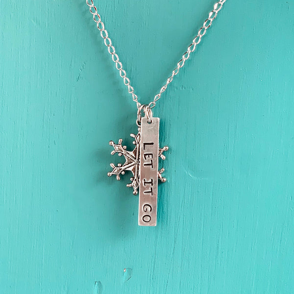 SECONDS NECKLACE SALE -- LET IT GO Stamped Necklace