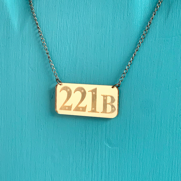 SECONDS NECKLACE SALE -- 221B Mirrored Gold Acrylic Necklace