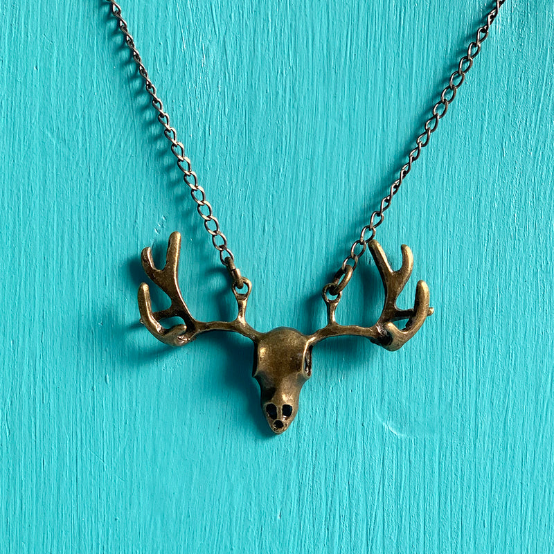 SECONDS NECKLACE SALE -- SKULL ANTLERS Necklace