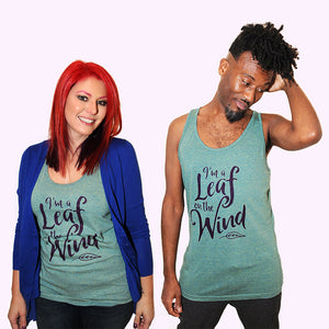 SALE -- Leaf on the Wind.  Unisex American Apparel tank top; sizes extra small, small, medium, large, XL.
