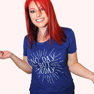 SALE -- No Day But Today. American Apparel women's fitted tshirt sizes small, medium, large, and XL