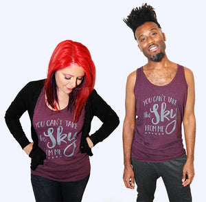 SALE -- You Can't Take the Sky from Me.  Unisex American Apparel tank top; sizes extra small, small, medium, large, XL.