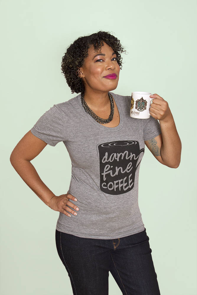 DAMN FINE COFFEE Women/Junior Fitted T-Shirt