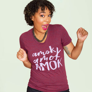 SALE -- AMOK!  Women's fitted tri-blend tshirt