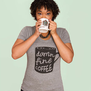 SALE -- DAMN FINE COFFEE.  Women's fitted triblend shirt, sizes small to XL