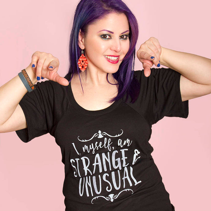 SALE -- Strange and Unusual.  Bella+Canvas women's flowy raglan, sizes small to 2XL