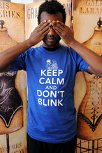 SALE!!  Keep Calm and Don't Blink. Unisex/Men American Apparel sizes small, medium, large, XL or 2XL in royal blue or black