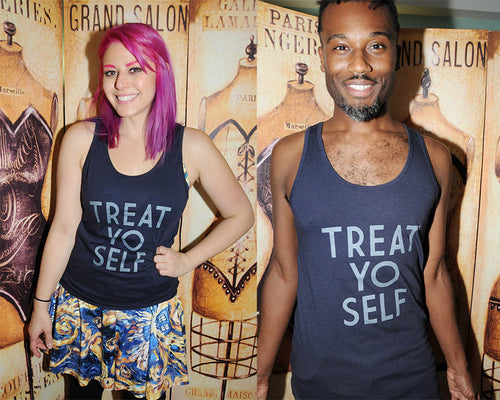 SALE -- TREAT YO SELF unisex American Apparel 50/50 tank top, sizes xs to xl.