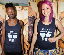 SALE -- BURT MACKLIN, FBI. Unisex tank top; sizes xs, small, medium, large, and xl.