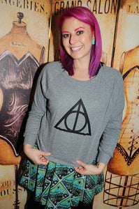 Wizard Symbol. Women's Tri-Blend Light Weight Raglan Pullover; sizes small, medium and large