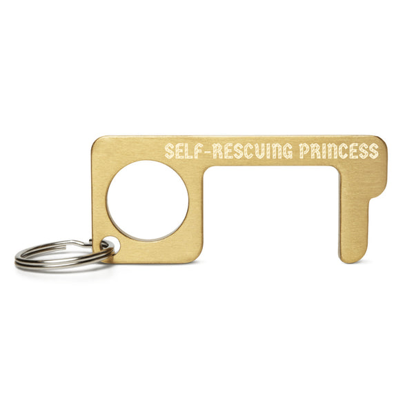 SELF-RESCUING PRINCESS Engraved Brass Touch Tool