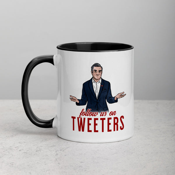 FOLLOW US ON TWEETERS Mug with Color Inside