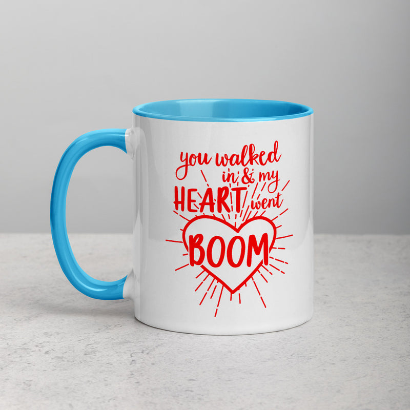 MY HEART WENT BOOM Mug with Color Inside