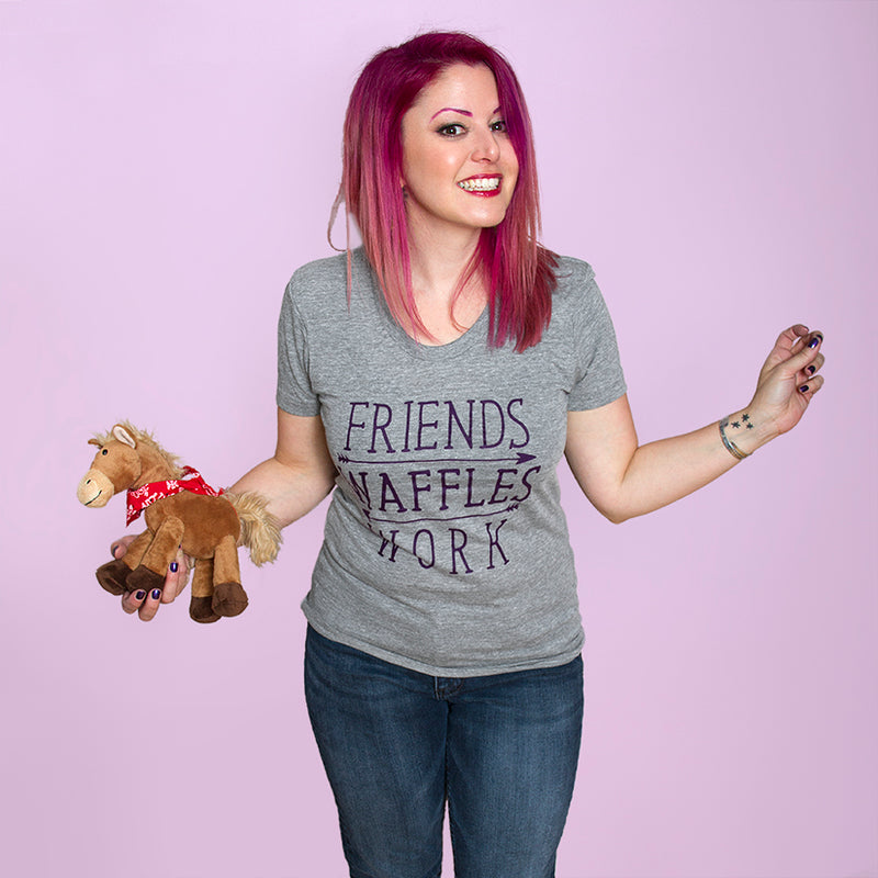FRIENDS WAFFLES WORK Women/Junior Fitted T-Shirt