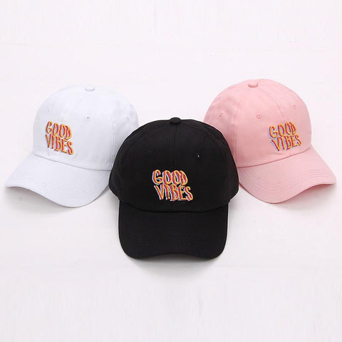 Good Vibes Dad Hat Embroidered Baseball Cap Curved Bill