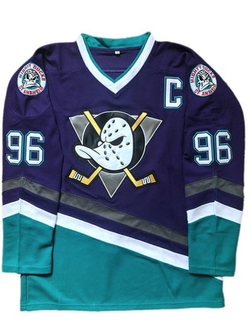 Mighty Ducks Movie Ice Hockey Jersey Purple