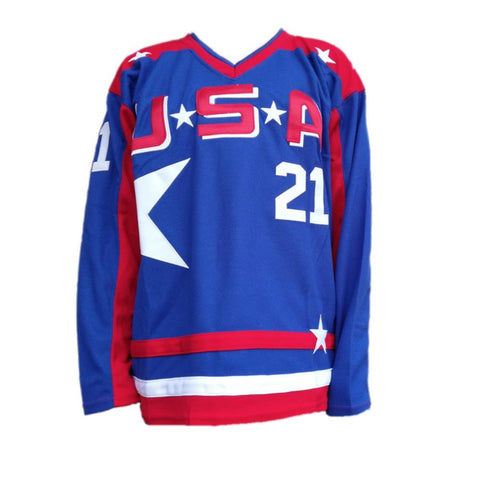 ddd26c53a Mighty Ducks D2 Movie Team USA Ice Hockey Jersey Red Blue – Jersey ...