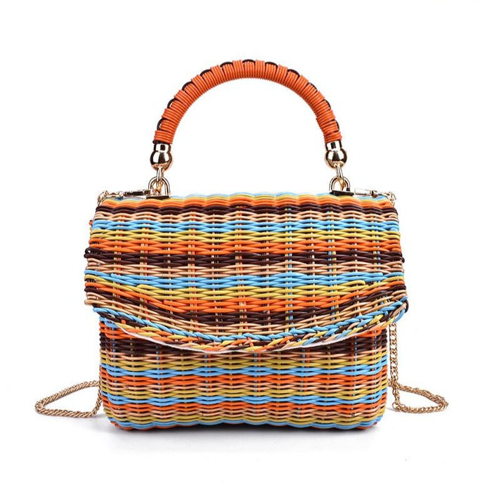 Square Rattan Straw Handbag