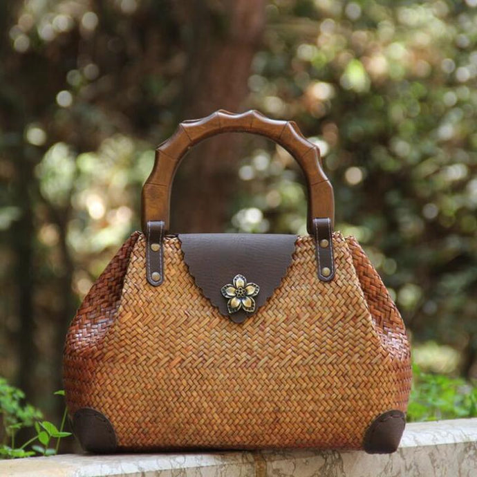 Straw Woven Wood Handle Handbag