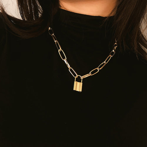 Gold Choker Lock Pendant Necklace - Gold