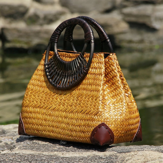 Thai Wood-Handle Straw Handbag