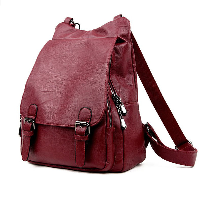 Leather Travel School Shoulder Backpack - Backpacks Oasis