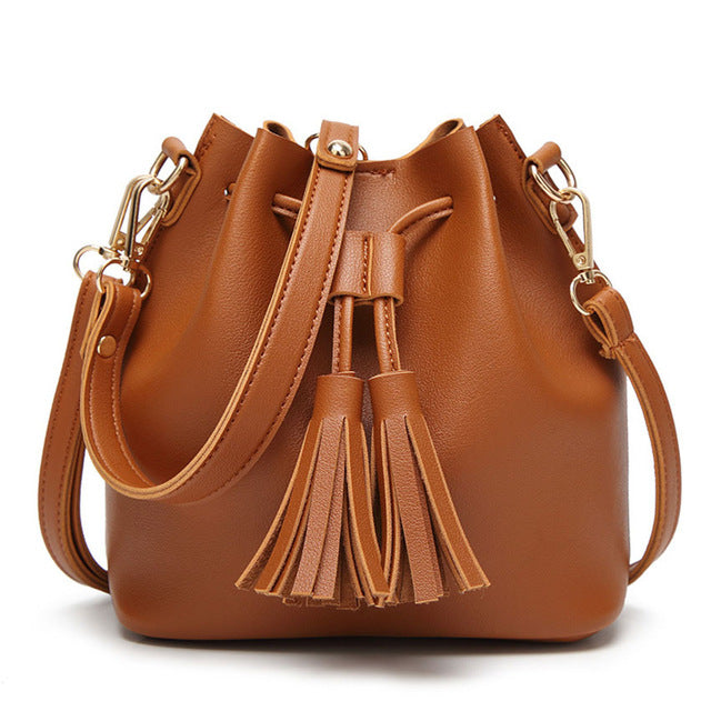 Small Bucket Tassel Drawstring Shoulder Bag - Backpacks Oasis