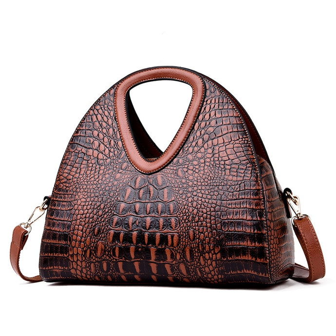 Half Moon Leather Shoulder Handbag
