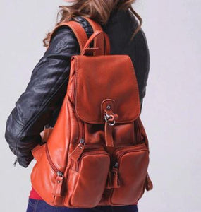 School Girl Leather Backpack