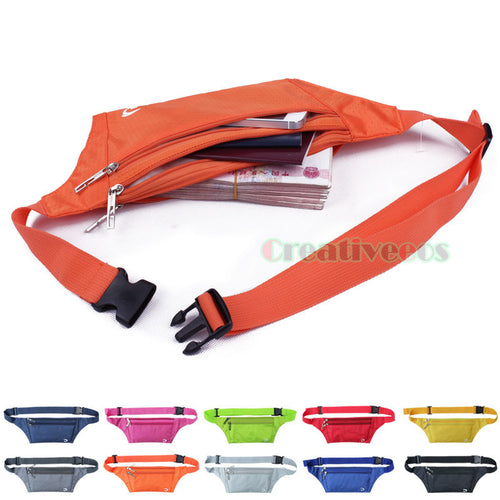 Unisex Anti-theft Slim Travel Walking Pouch Cell Mobile Phone Chest Waist Fanny Pack Bag