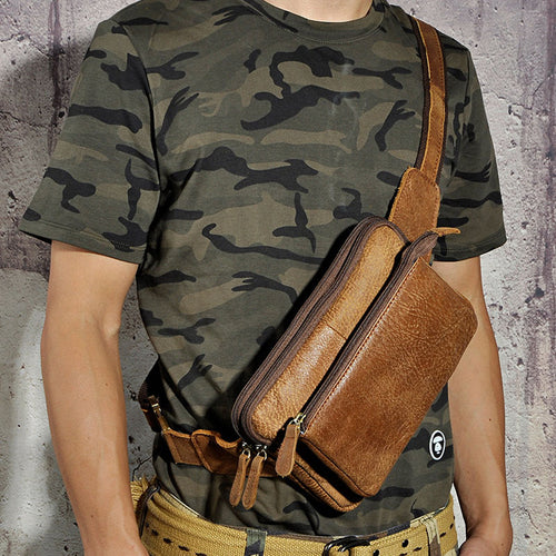 New Men Genuine Leather Cowhide Vintage Messenger Shoulder Sling Chest Bag Belt Bukle Hip Bum Pouch Fanny Pack Waist Purse Bag