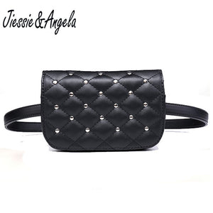 Jiessie & Angela New Fashion Black Solid Leather Waist Bag For Women Fanny Pack Waist Bag Pouch Phone Bag Bolosa