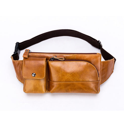 Men Oil Wax  First layer Cowhide Fanny Waist Pack Crossbody Bag Vintage Travel Purse Cigarette Case Cell Phone Pocket