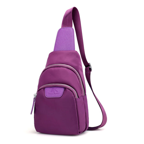 Women Waterproof Nylon Chest Bags Multi Function Small Shoulder Bag Fanny Letter Cell Phone Sling Bag Unisex Chest Pack Flap