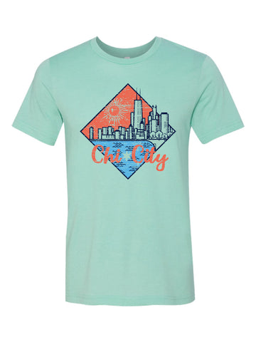 chicago lakefront skyline summertime tshirt