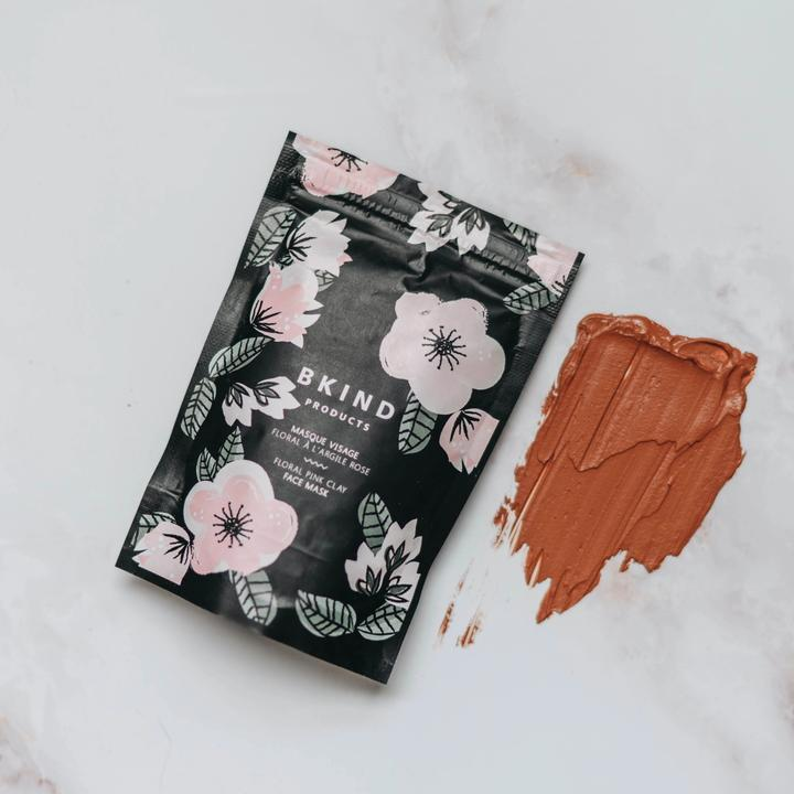 Floral face mask - Pink clay