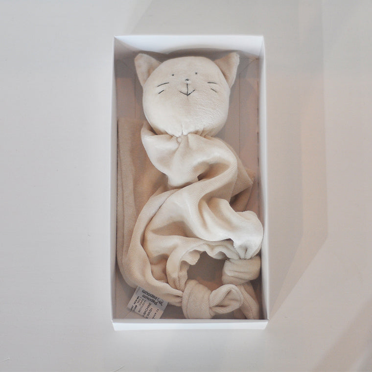 Doudou bambou — Chat broderie grise