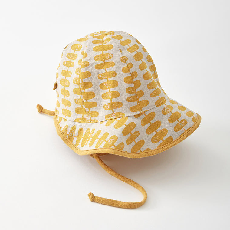 ORMY reversible hat - Leaves/Mustard