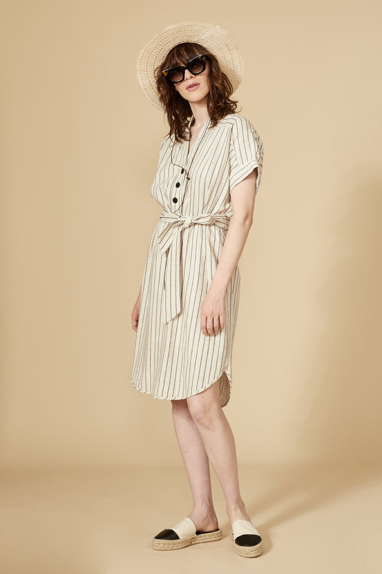 CERRADO Dress — Striped linen
