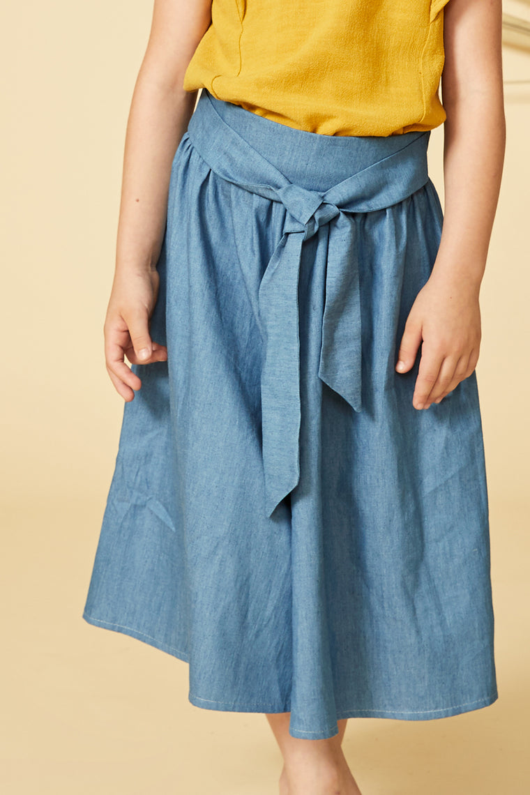 FIGUE Divided Skirt — Light Denim