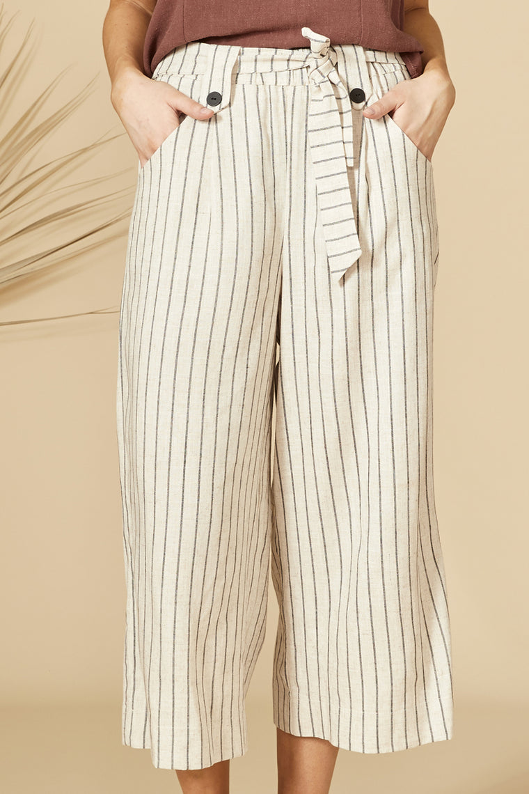 SOLANUM Pants — Striped Linen