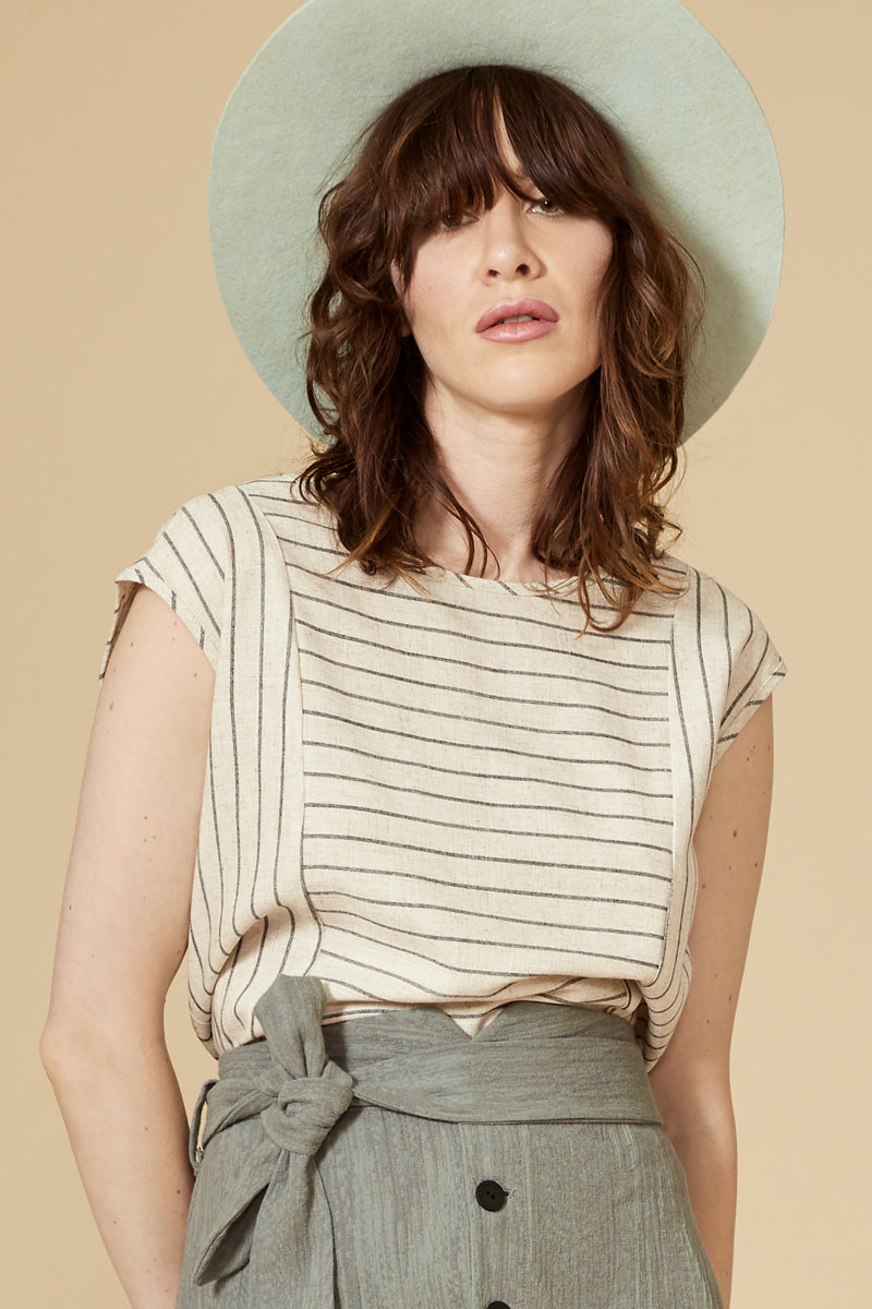 MAMBA Top — Striped Linen