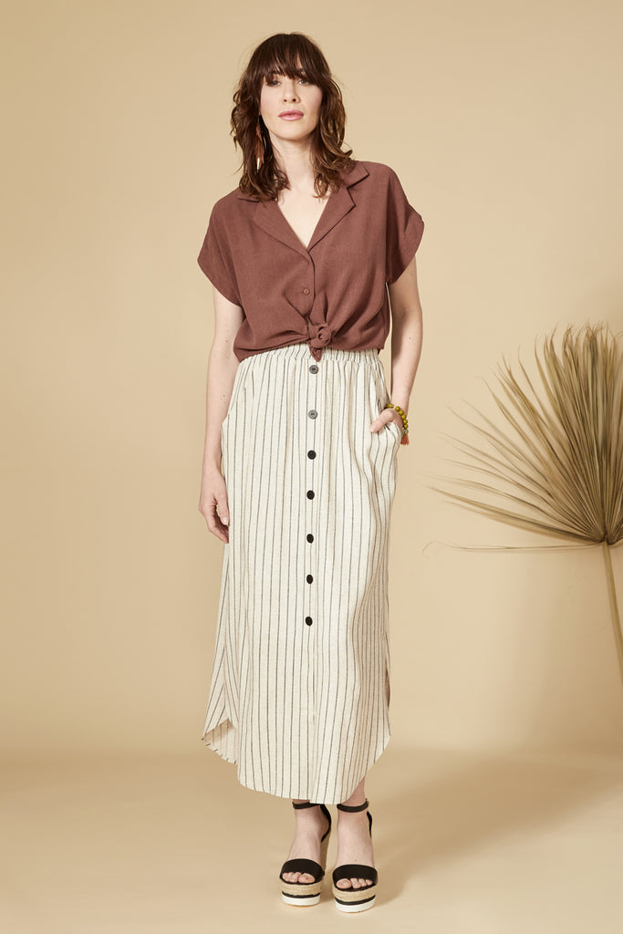 VIPERE Skirt — Striped Linen