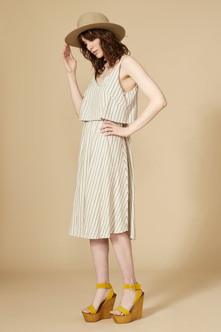 SAVANE Dress — Striped linen