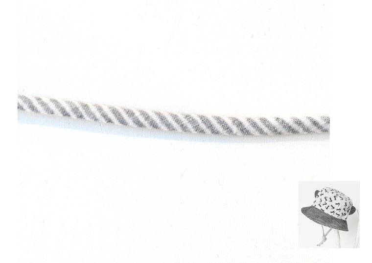 Spaghetti - White and Grey striped - 1/4""