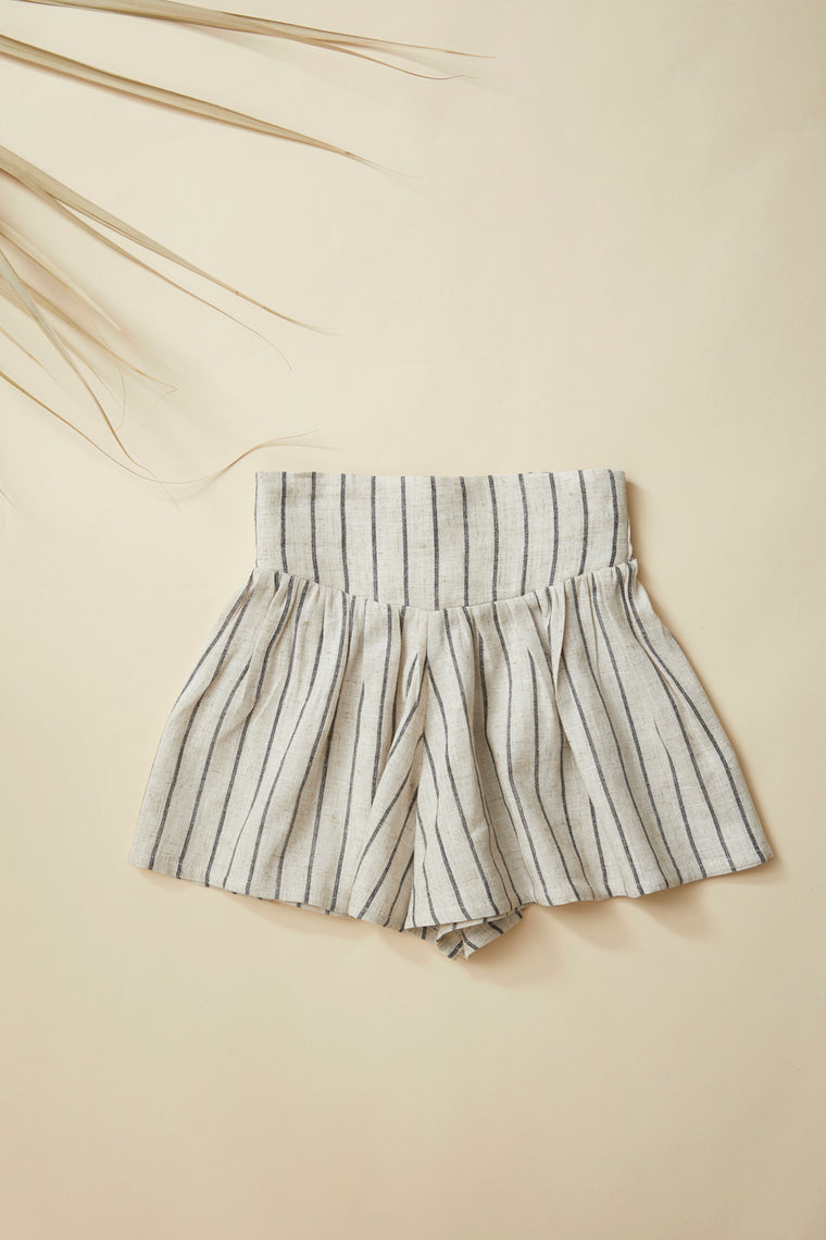 TOPI Divided Skirt — Striped Linen