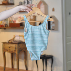 One piece swimwear for toddlers - Blue/striped